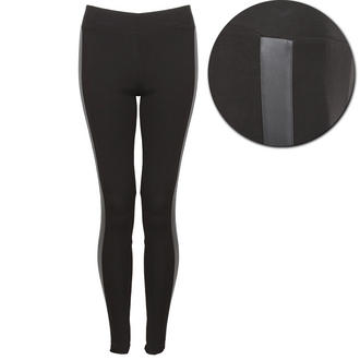 View Item Black Leggings with PU Leather Side Panel